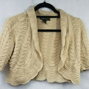 Tan Cotton Blend Knit Shrug Vest Sweater
